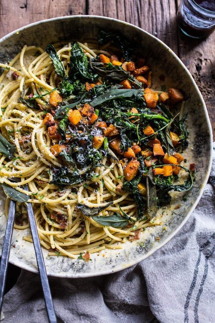 Tekvicové špagety s listovou zeleninou
